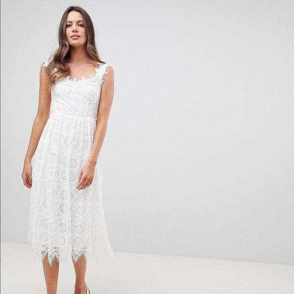 Nwt Yas White Lace Midi Dress Nwt